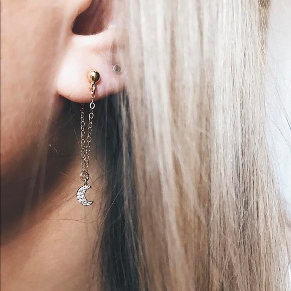 NEW 18k Gold Filled Handmade Crescent Moon Earring